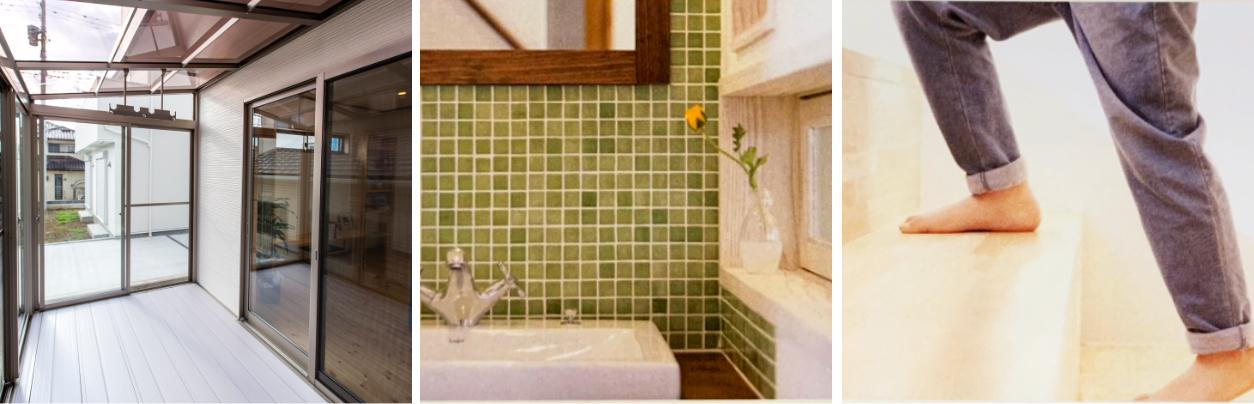 「からだ」と「こころ」にやさしい家のサンルームと水場と階段
