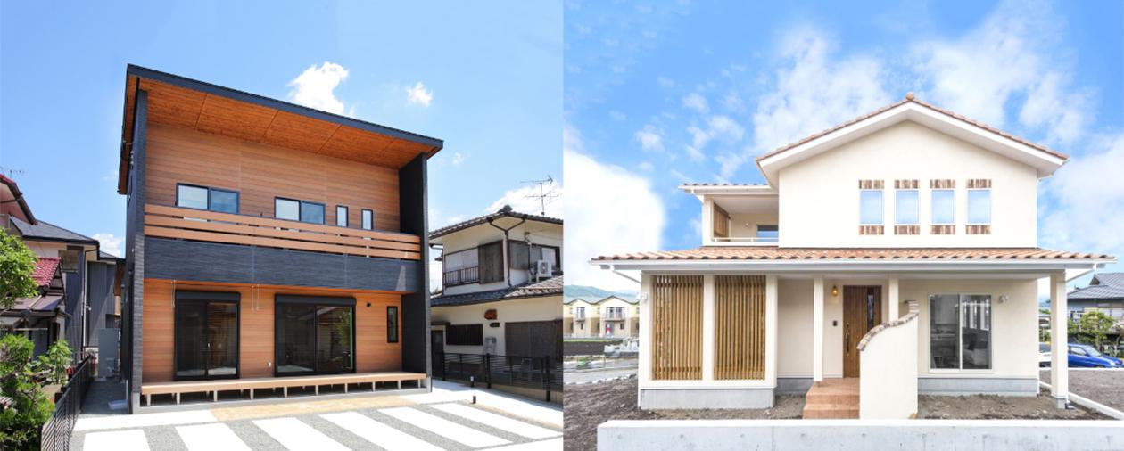 定額で建つ家の写真が2枚