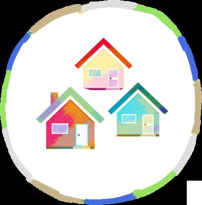 三棟の家のイラスト