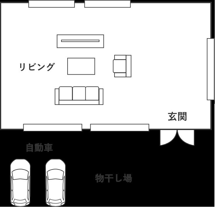 40-50坪の分譲された土地の一般的なプラン図
